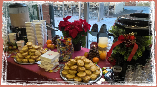 mulled wine, mince pies and hot chocolate stall