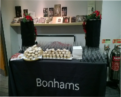 mince pies and mulled wine display table