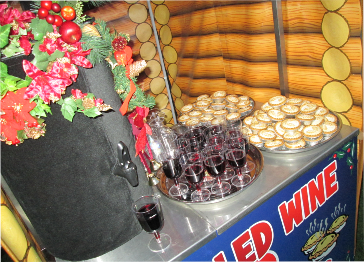 mulled wine and mince pies vendor cart